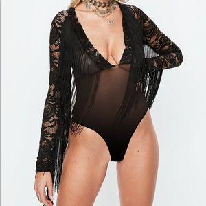 Missguided black lace mesh fringe bodysuit NWT